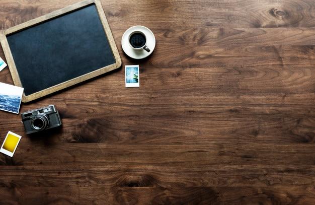 Vogelperspektive der leeren tafel mit copyspace
