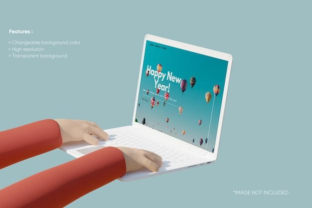 Vollbild-laptop-tonmodell mit 3d-hand