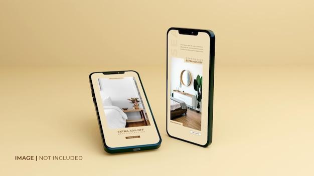 Vollbild-schwarzes-smartphone-mockup-design-mit-mobiler-app-präsentationsvorlage
