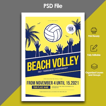 Volleyball strand flyer vorlage