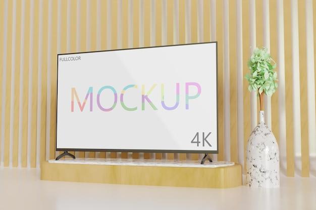 Vollfarbiges tv-modell minimalistisch, seitenansicht realistisch 3d gerendert