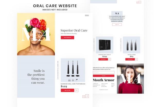 Vollständige website-vorlage für zahnpflege