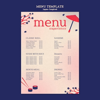 Von japan inspirierte menü-designvorlage