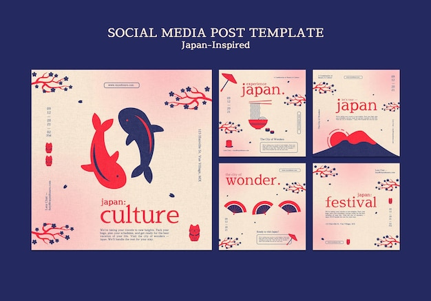 Von japan inspirierte social-media-post-designvorlage