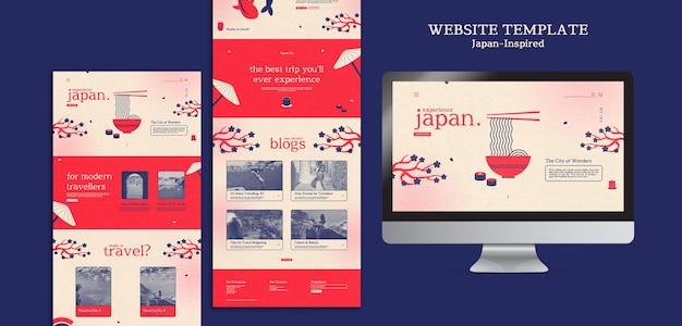 Von japan inspirierte website-designvorlage