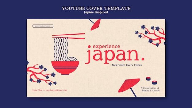Von japan inspirierte youtube-cover-design-vorlage