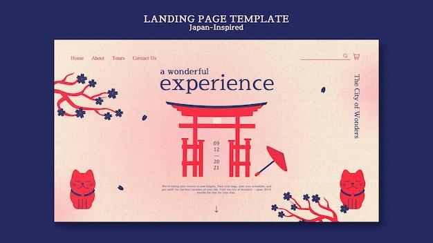 Von japan inspirierte zielseiten-designvorlage