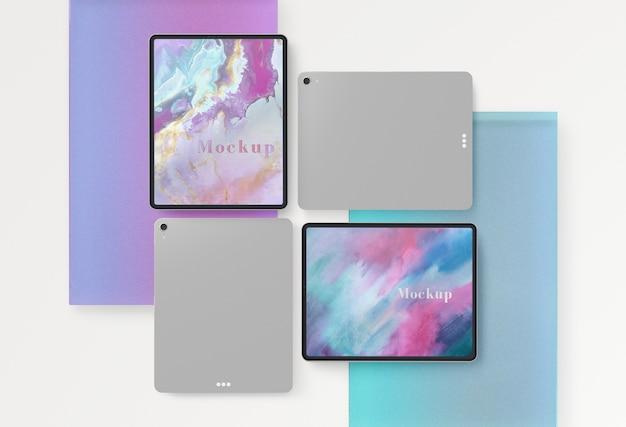 Vorder- und rückseite der tablet-sammlung