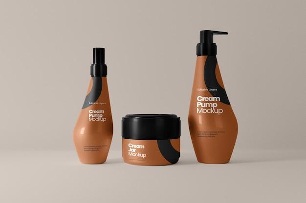 Vorderansicht des kosmetikglases und des mehrfach-pumpflaschenmodells