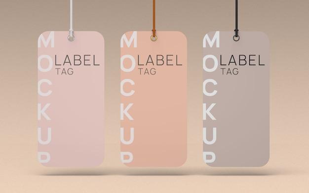 Vorderansicht des markierungsmodells mit drei kleideretiketten Premium PSD