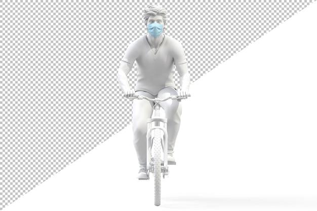 Vorderansicht eines mannes, der medizinische schutzgesichtsmaske auf einem isolierten fahrrad trägt