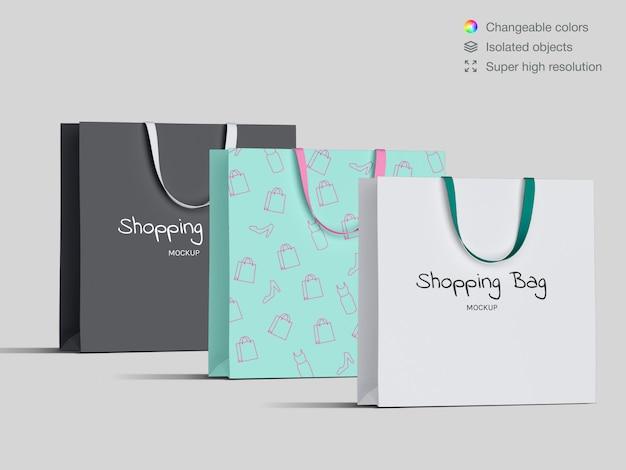 Vorderansicht einkaufen papiertüten modell vorlage