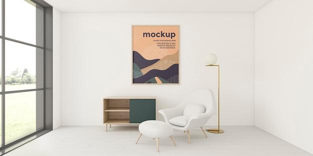 Vorderansicht-sortiment für wohnraum mit rahmenmodell