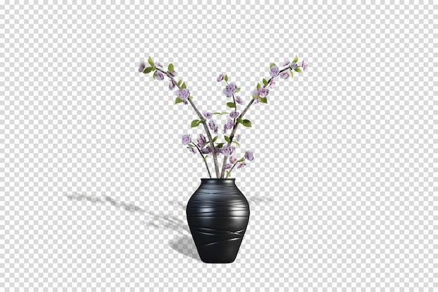 Vorderansicht-vase mit ästen in 3d-rendering