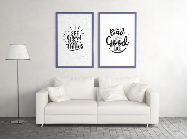 Vorderansicht verspotten plakate mit sofa