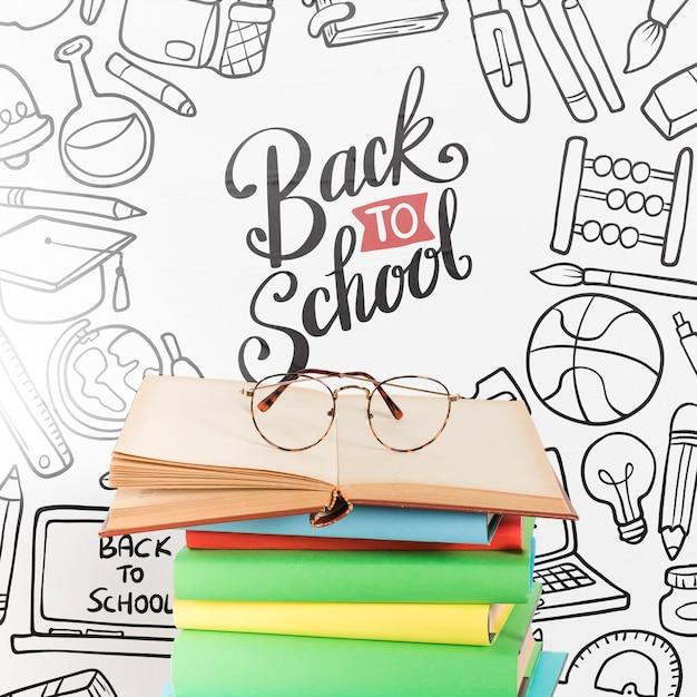 Vorderansicht zurück zu schule mit offenem buch
