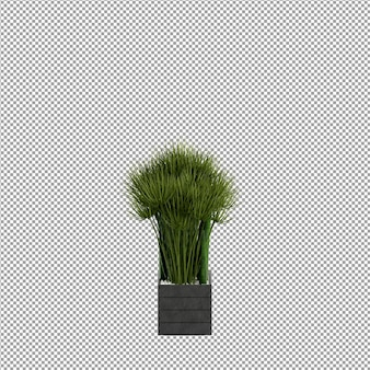 Vordere blume in einer vase 3d-rendering