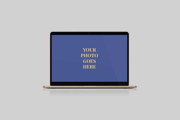 Vordere winkelsicht des rose gold-laptopmodells