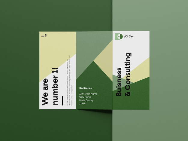 Vorderes trifold-broschürenmodell