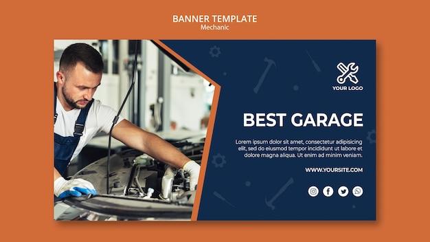 Vorlage für banner mit mechaniker reparatur auto