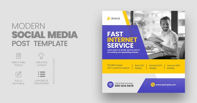 Vorlage für breitband-social-media-beiträge oder web-banner