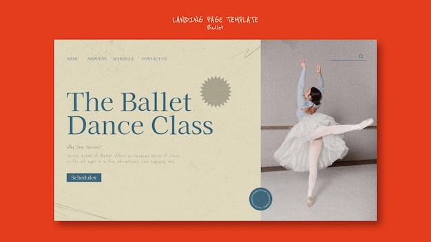 Vorlage für das design der ballett-landingpage