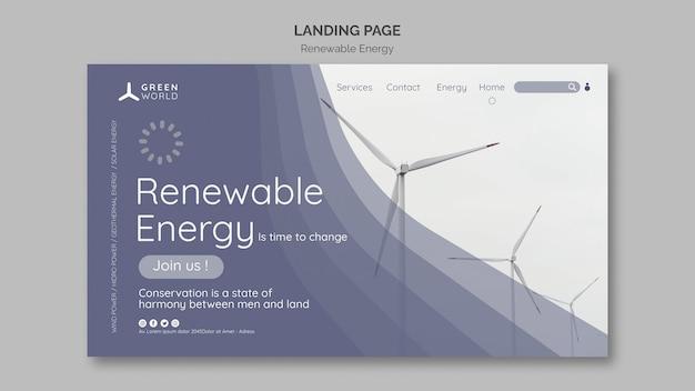 Vorlage für das design der landingpage für erneuerbare energien