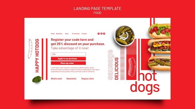 Vorlage für das design der landingpage für lebensmittelvorlagen