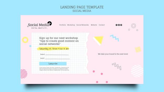 Vorlage für das design der zielseite einer social media-marketingagentur
