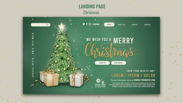 Vorlage für das design der zielseite für den weihnachtsverkauf