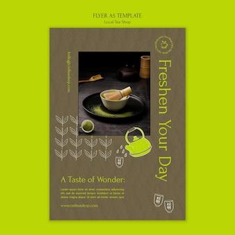 Vorlage für das design des flyers für den lokalen teeladen