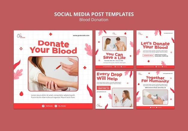 Vorlage für das design von instagram-posts für blutspenden