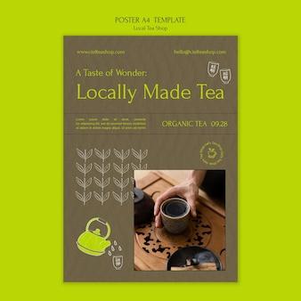 Vorlage für das plakatdesign eines lokalen teeladens