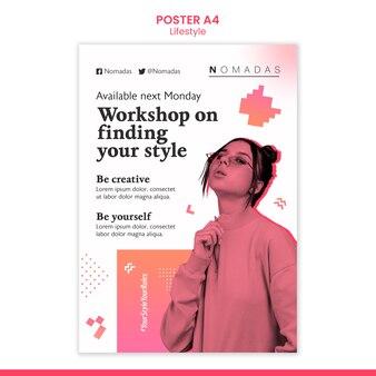 Vorlage für das poster für den workshop-stil