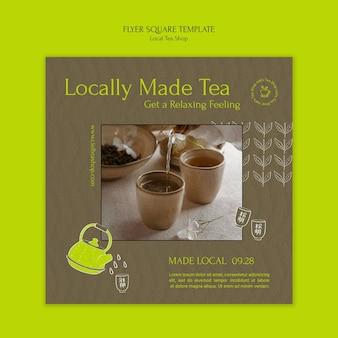Vorlage für das quadratische flyer-design des lokalen teeladens