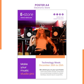 Vorlage für den elektronischen laden des plakats