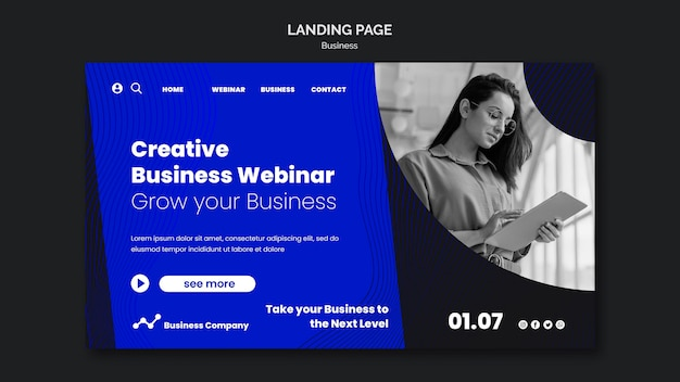 Vorlage für die zielseite des business-webinars