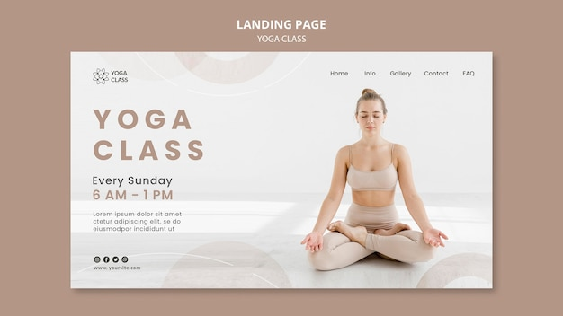 Vorlage für die zielseite des yoga-kurses