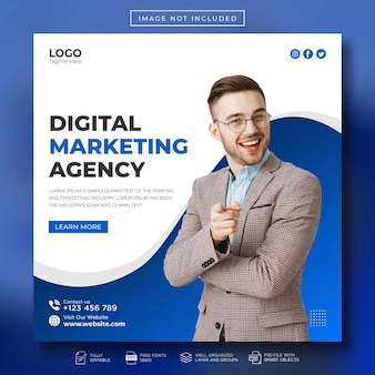 Vorlage für digitale marketingagenturen und unternehmen für social media-posts und webbanner