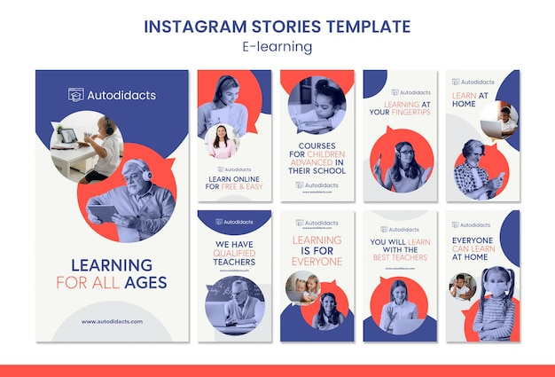 Vorlage für e-learning-instagram-geschichten