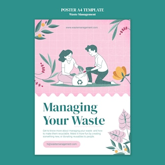 Vorlage für ein abfallmanagement-plakat