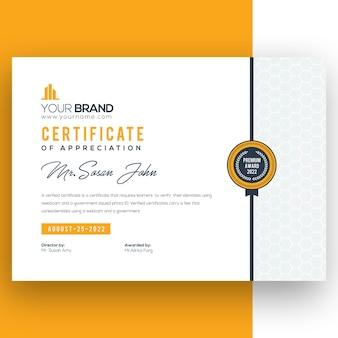 Vorlage für ein gelbes firmenzertifikat
