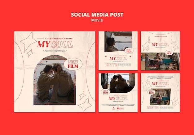 Vorlage für einen neuen social-media-beitrag für filme