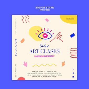 Vorlage für einen quadratischen flyer für kunstkurse