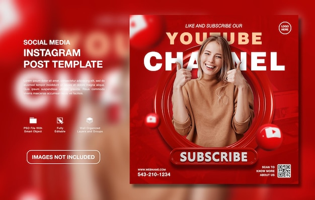Vorlage für instagram-beiträge für kreative youtube-kanalwerbung
