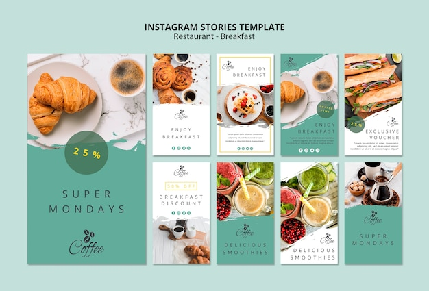Vorlage für instagram-geschichten des frühstücksrestaurants