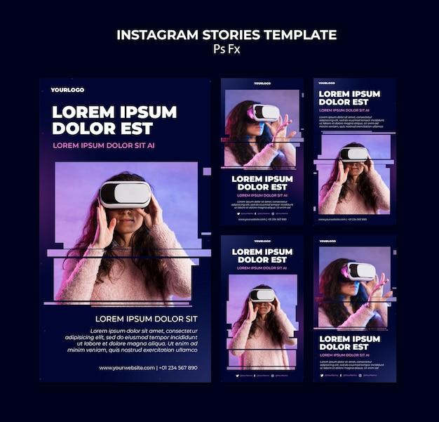 Vorlage für instagram-geschichten in der virtuellen realität