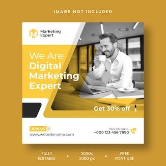Vorlage für instagram-posts und social-media-banner, experte für digitales marketing