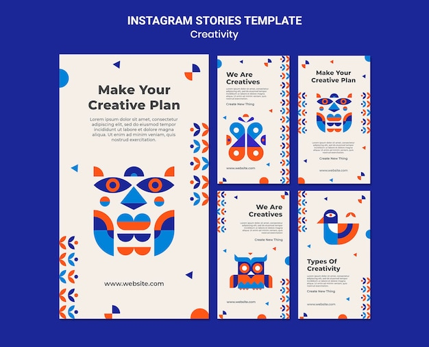 Vorlage für kreativitäts-instagram-geschichten