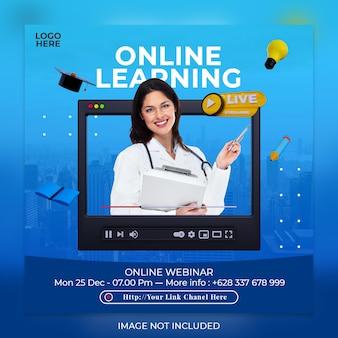 Vorlage für live-streaming-online-lernen und social-media-beiträge